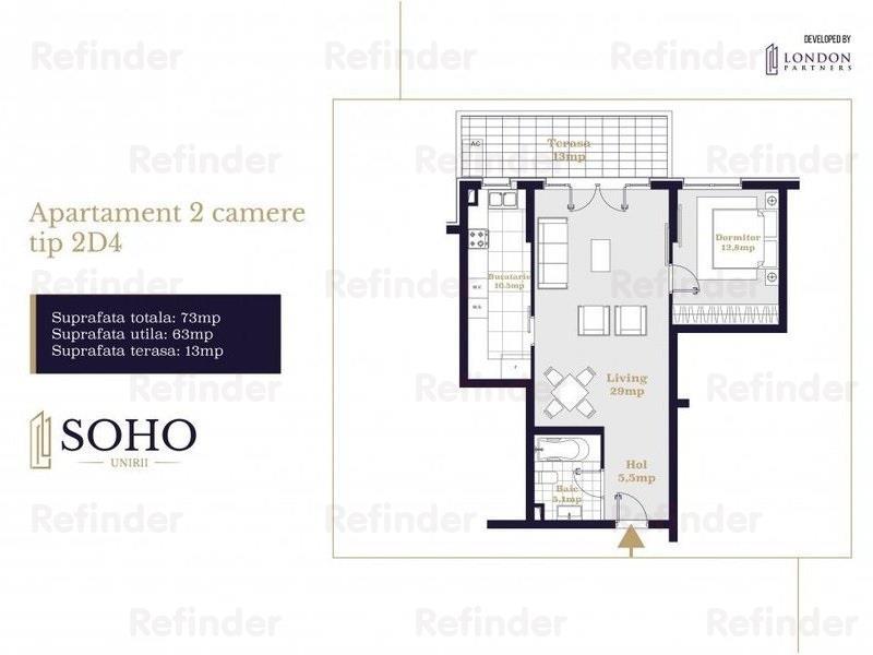 Vanzare apartament 2 camere Soho Unirii