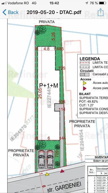 Teren in Bucuresti+autorizatie constr, 1 min STB, toate utilitatile